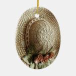Ceramic Woven Hat Christmas Ornament