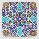Cerámica turca tribal étnica floral del mosaico de pegatina cuadrada