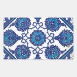 Cerámica turca tribal étnica floral del mosaico de pegatina rectangular