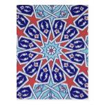 Cerámica turca tribal étnica floral del mosaico de postal