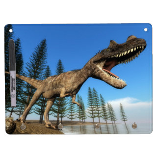 Ceratosaurus dinosaur at the shoreline - 3D render Dry Erase Board With Keychain Holder