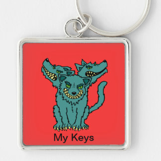 Cerberus - Book of Monsters - Ancient Greece Silver-Colored Square Keychain