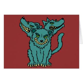 Cerberus - el perro dirigido tres del infierno tarjeton