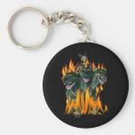 Cerberus In Hell Basic Round Button Keychain