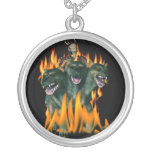 Cerberus In Hell Round Pendant Necklace