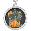 Cerberus In Hell Silver Plated Necklace
