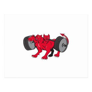 Cerberus Multi-headed Dog Hellhound Powerlifting B Postcard