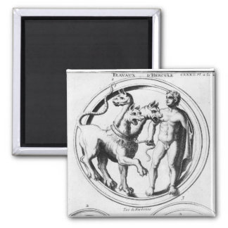 Cerberus Tamed by Hercules 2 Inch Square Magnet