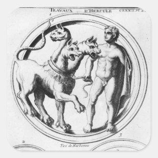 Cerberus Tamed by Hercules Square Sticker