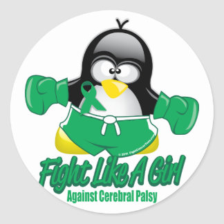 Cerbral Palsy Fighting Penguin Classic Round Sticker