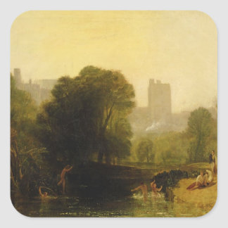 Cerca de la cerradura de Thames, Windsor, c.1809 Pegatina Cuadrada