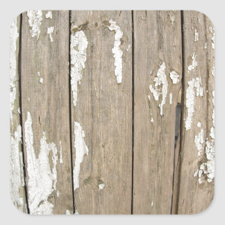 Cerca de madera vieja con la pintura exfoliated pegatina cuadrada