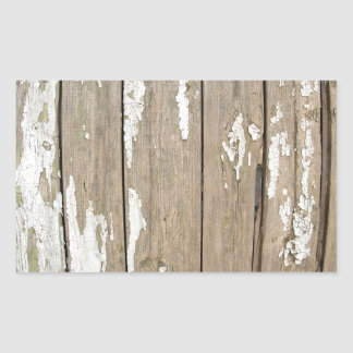 Cerca de madera vieja con la pintura exfoliated pegatina rectangular