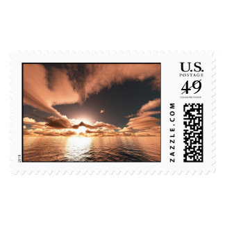 Cerca de oscuridad sello postal