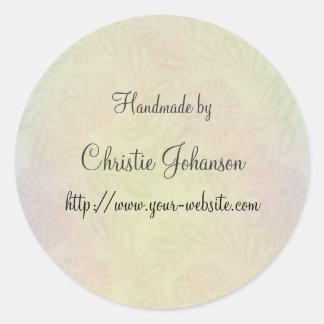 Cerca - diseño floral hecho a mano pegatina redonda
