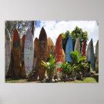 Cerca Maui, HI de la tabla hawaiana Poster