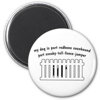 Cerca-Puente de la pieza del Coonhound de Redbone  Imán Redondo 5 Cm
