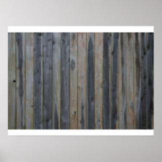 Cerca sólida de madera del listón, fondo perfecto póster
