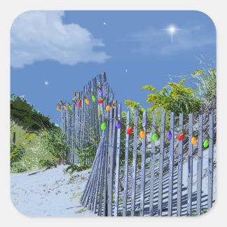 Cerca y dunas de la playa pegatina cuadrada