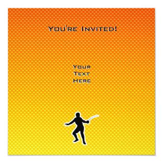 """Cercado amarillo-naranja invitación 5.25"""" x 5.25"""""""