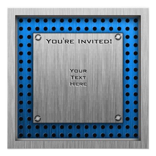 Cercado cepillado de la Metal-mirada Invitacion Personalizada
