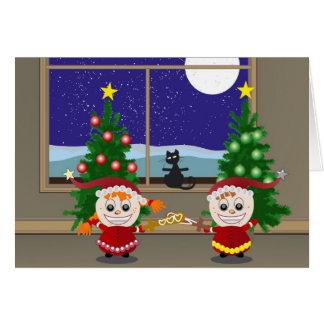 Cercado de Navidad Elfs Tarjeta De Felicitación