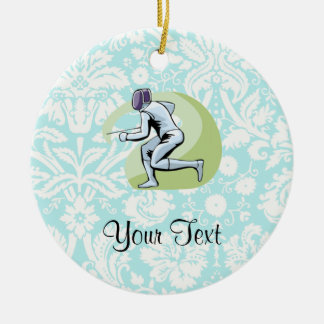 Cercado del modelo del damasco del trullo adorno navideño redondo de cerámica