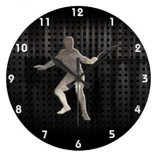 Cercado; Negro fresco Reloj Redondo Grande