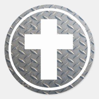 Cercle Métal de los dans de Croix Pegatina Redonda