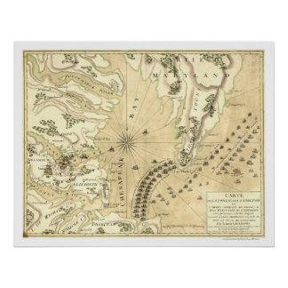 Cerco del mapa 1781 de Yorktown Impresiones