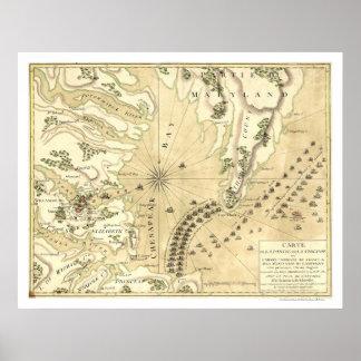 Cerco del mapa 1781 de Yorktown Póster