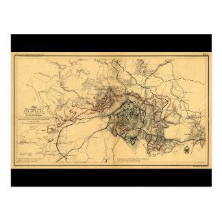Cerco del mapa de la guerra civil de Atlanta Postal
