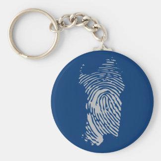 Cerdeña, llavero de la huella dactilar (azul)