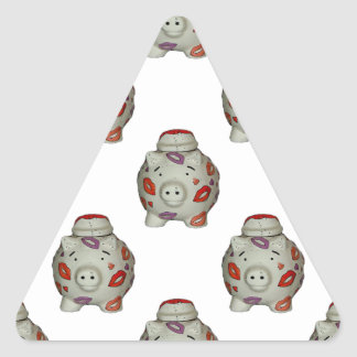 Cerdo adorable del lápiz labial pegatina triangular