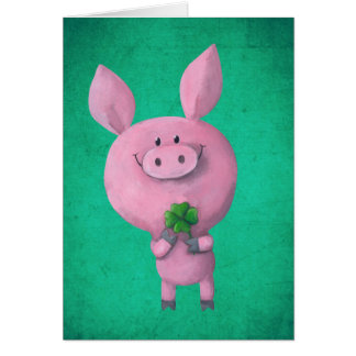 Cerdo afortunado con el trébol afortunado de cuatr felicitacion
