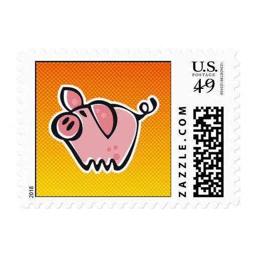 Cerdo amarillo-naranja franqueo