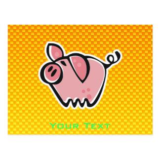 Cerdo amarillo-naranja postal