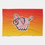 Cerdo amarillo-naranja toallas de cocina