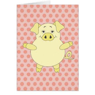 Cerdo amarillo y rosado Polkadots Tarjeta Pequeña
