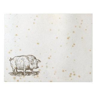 Cerdo antiguo, Illistration guarro manchado lindo Libretas Para Notas