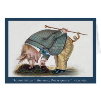 Cerdo antropomorfo lindo - tarjeta del arte del vi