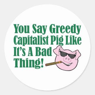Cerdo capitalista codicioso etiquetas redondas