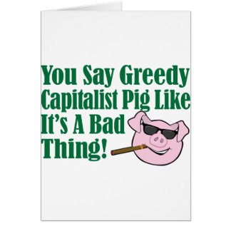 Cerdo capitalista codicioso tarjeton