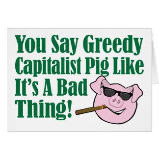 Cerdo capitalista codicioso felicitacion