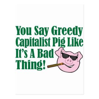 Cerdo capitalista codicioso tarjeta postal