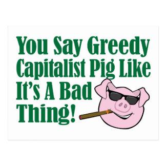 Cerdo capitalista codicioso postales
