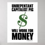 Cerdo capitalista - muestra de dólar: Poster de la