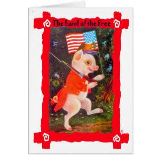 Cerdo como soldado revolucionario tarjeta de felicitación