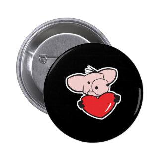 cerdo con el corazón pin redondo de 2 pulgadas
