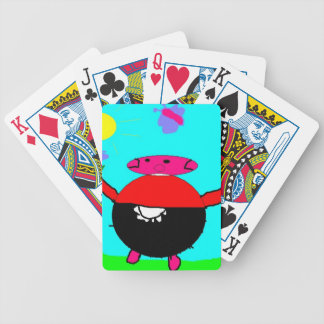 cerdo con la flor y la mariposa en el sol, arte de baraja de cartas bicycle